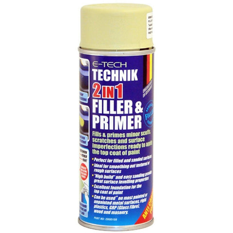 2 x E-Tech 2 in 1 Filler and Primer Repair Paint Fills Minor Scuffs and Scratches 400 millilitre Cans - Taxi-Mart Shop