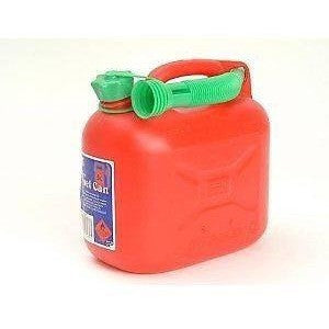 Petrol Can and Spout Red Plastic 5 Litre for Unleaded Petrol - Taxi-Mart Shop