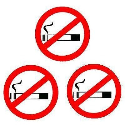 3 x No Smoking Stickers White Background Taxi Or Minicab - Taxi-Mart Shop