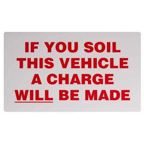 If You Soil This Vehicle.... Taxi Driver Cab Driver Minicab Sticker - Taxi-Mart Shop