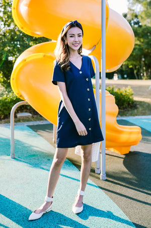 *TSA Label* Wynne Buttoned Dress In Navy