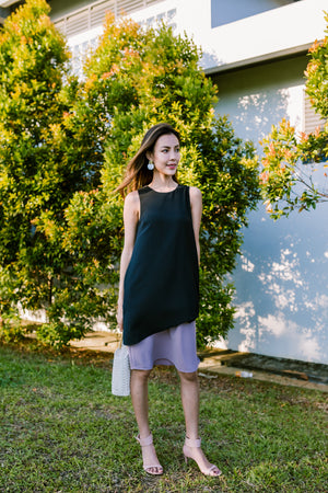 Emmeline Overlap Hem Dress In Black