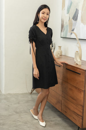 Soleil Tie Sleeve Dress In Black