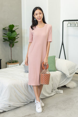 Helga Ribbed Basic Midi In Pink
