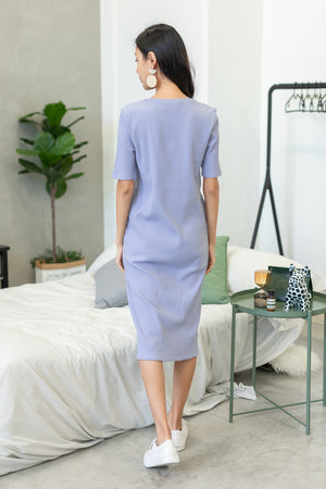 Helga Ribbed Basic Midi In Lilac