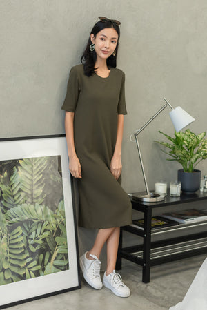 Helga Ribbed Basic Midi In Olive