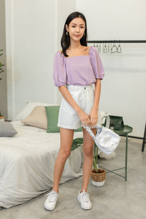 Asterin Puff Sleeve Top In Lilac