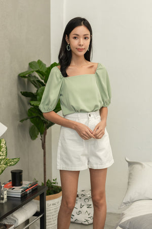 Asterin Puff Sleeve Top In Sage
