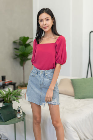 Asterin Puff Sleeve Top In Mulberry