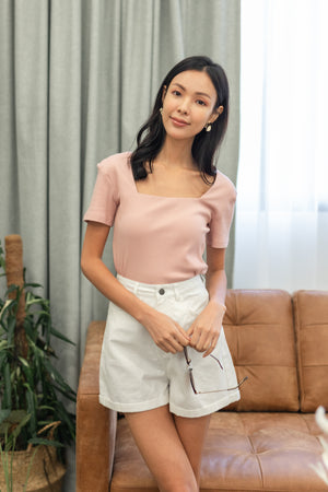 Marlo Ribbed Square Neck Top In Pink