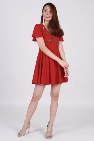 Jadore Embroidery Skater Dress In Red