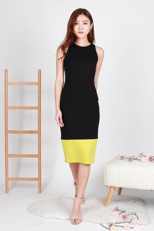 Zandra Bodycon Colourblock Midi In Black Lime