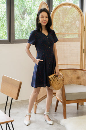 Kye Dots Buttoned Dress In Navy