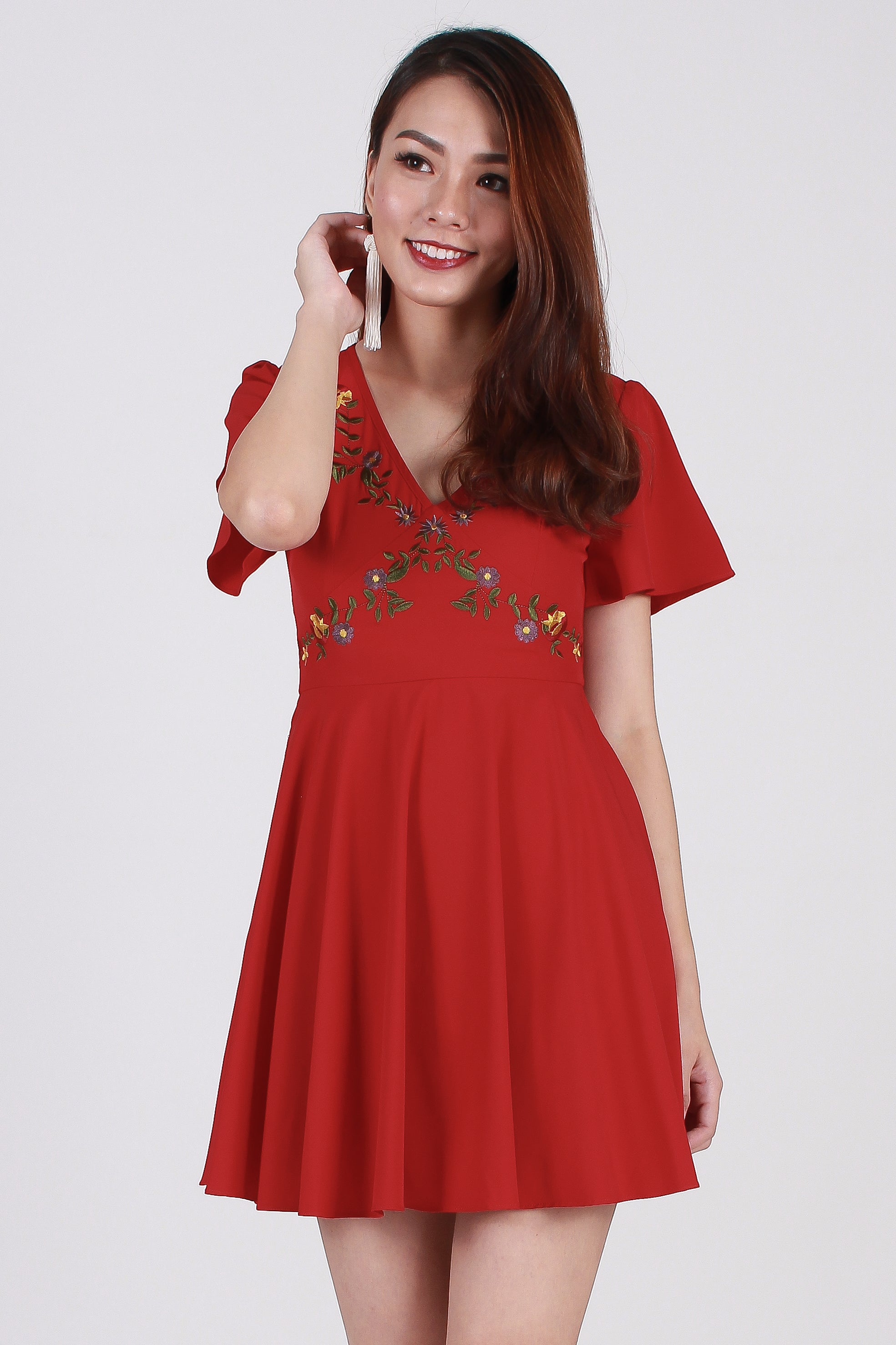 d4dd74cf39 Jadore Embroidery Skater Dress In Red - The Sunday Avenue