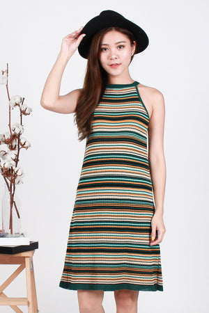 Keidi Striped Knit Dress In Forest