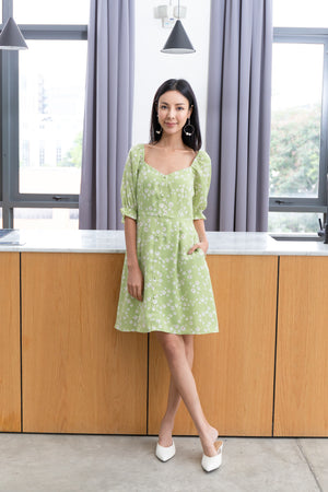 Chiara Daisy Dress In Apple Green