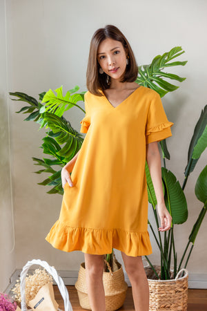 *BACKORDER* *TSA Label* Elenor Ruffled Drophem Dress In Mustard