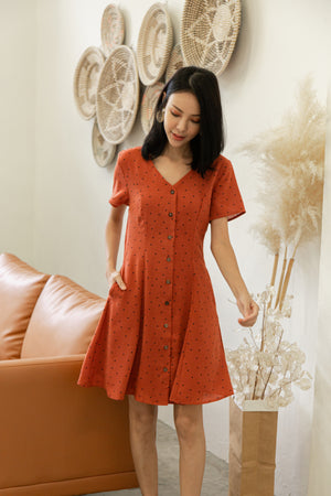 Kye Dots Buttoned Dress In Rust