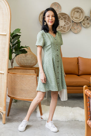 Kye Dots Buttoned Dress In Pistachio