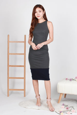 Zandra Bodycon Colourblock Midi In Grey Navy