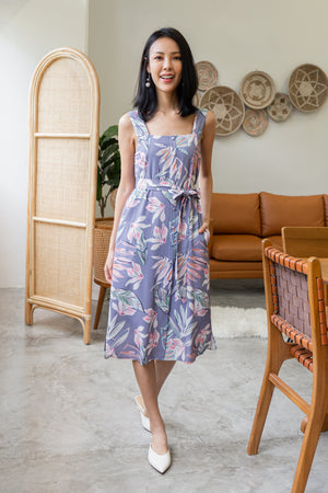 *TSA Label* Feodora Floral Button Midi Dress In Parisian Purple