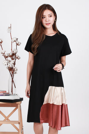 Athena Layered Hem Midi In Black