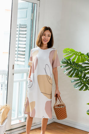 *BACKORDER* *TSA Label* Yander Doodle Abstract Midi Dress In White