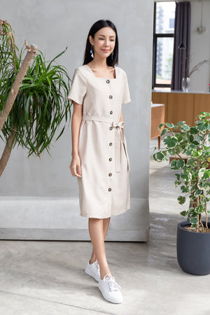 *TSA Label* Ada Buttoned Midi Dress In Sand