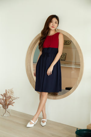 *TSA Label* Everly Colourblock Drawstring Dress In Wine/Navy