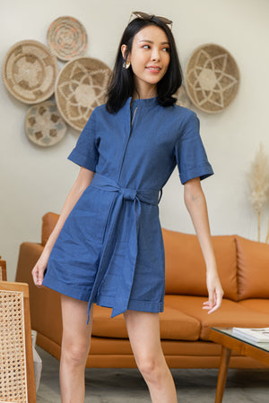 Canary Front Zip Romper In Dark Denim
