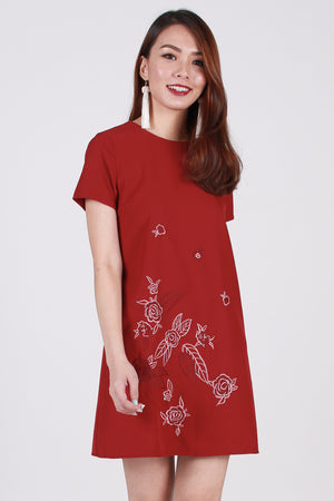 *Premium* Spring-Flair Tee Dress In Wine