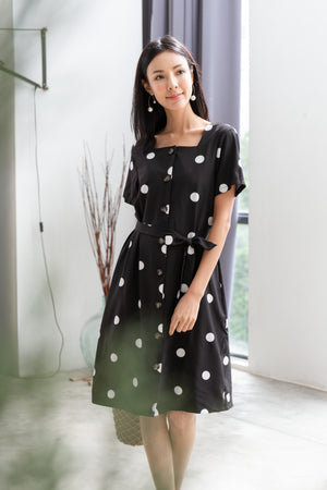 *TSA Label* Ada Polkadot Buttoned Midi Dress In Black