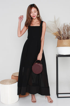 Francine Swiss Dots Maxi Dress In Black