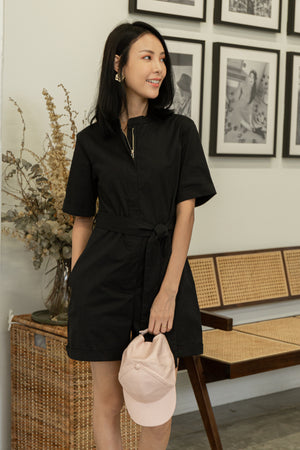 Canary Front Zip Romper In Black
