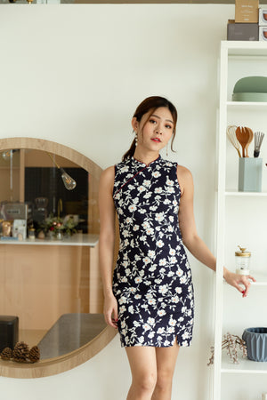 Full Blossoms Cheongsum In Navy