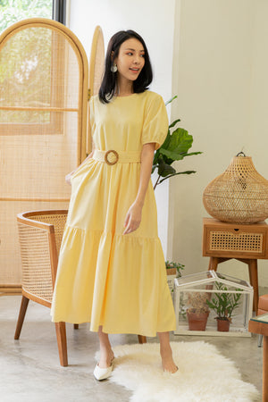Gwende Puff Sleeve Maxi Dress In Daffodil Yellow