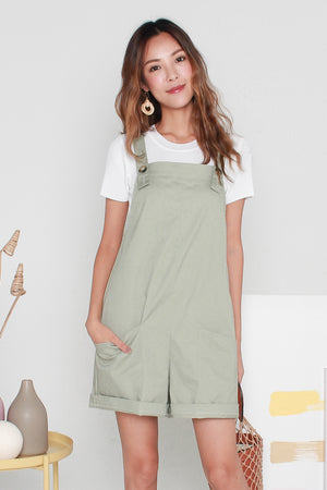 *RESTOCK* Barry Pinafore Dungaree In Sage