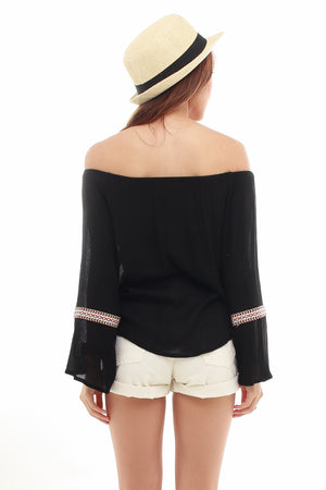 Bohemia Off Shoulder Top In Black