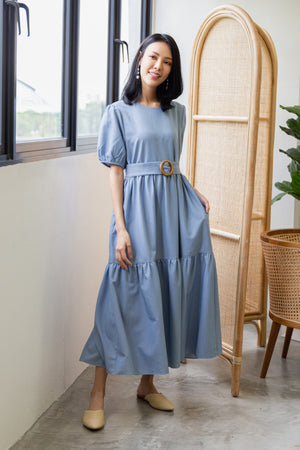 Gwende Puff Sleeve Maxi Dress In Denim Blue