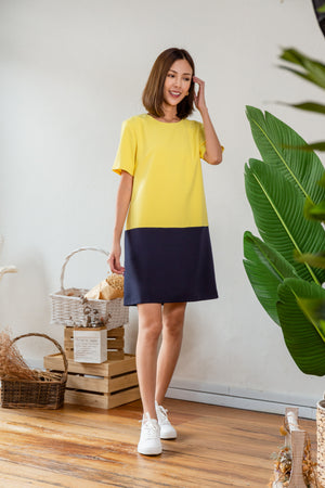 *TSA Label* Gwenda Sleeved Dress In Yellow/Navy