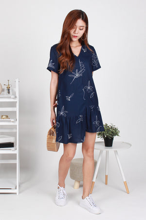 *TSA Label* Arielle Leafy Asymmetry Hem Dress In Navy