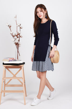 Emmy Tie-Waist Knit Dress In Navy Gingham