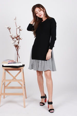 Emmy Tie-Waist Knit Dress In Black Stripes