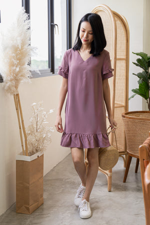 *TSA Label* Elenor Ruffled Sleeved Drophem Dress In Mauve