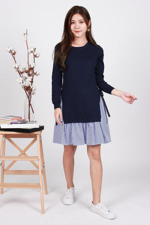Emmy Tie-Waist Knit Dress In Navy Stripes