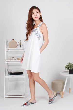 Lorenta Embroidery Shift Dress In White
