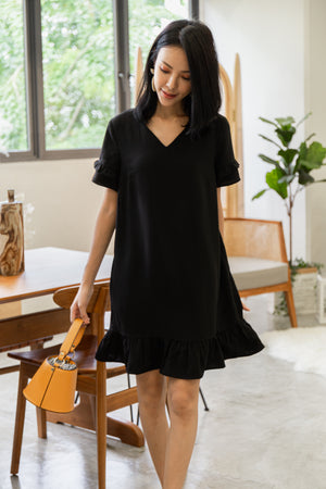*TSA Label* Elenor Ruffled Sleeved Drophem Dress In Black