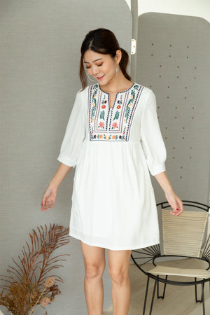 *TSA Label* Emery Embroidery Dress In White