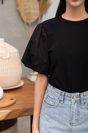 *BACKORDER* Delina Puff Sleeve Top In Black