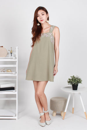 Lorenta Embroidery Shift Dress In Sage